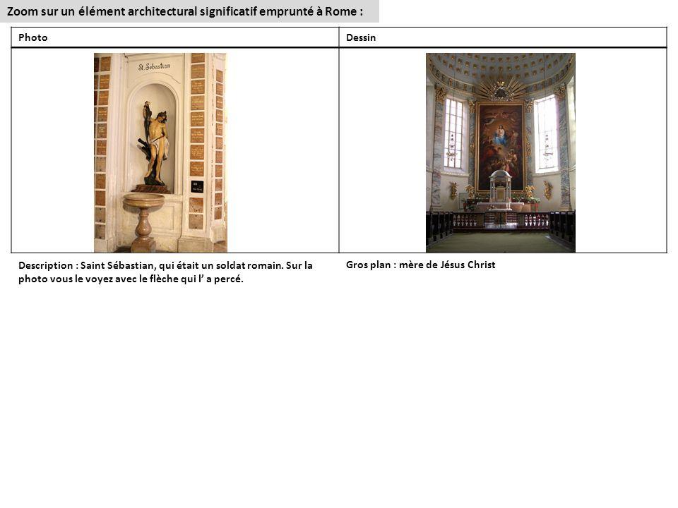 Zoom sur un élément architectural significatif emprunté à Rome :