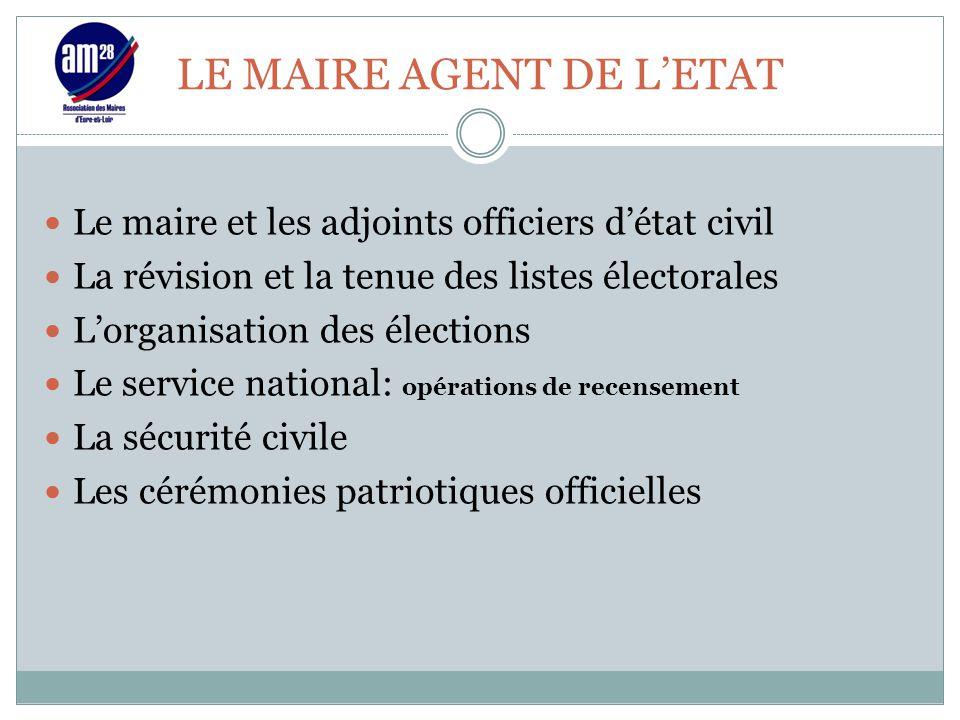 LE MAIRE AGENT DE L'ETAT