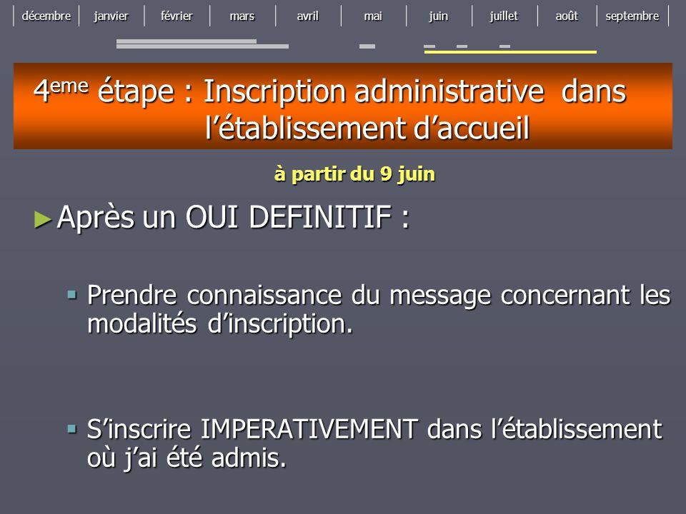 4eme étape : Inscription administrative dans l'établissement d'accueil