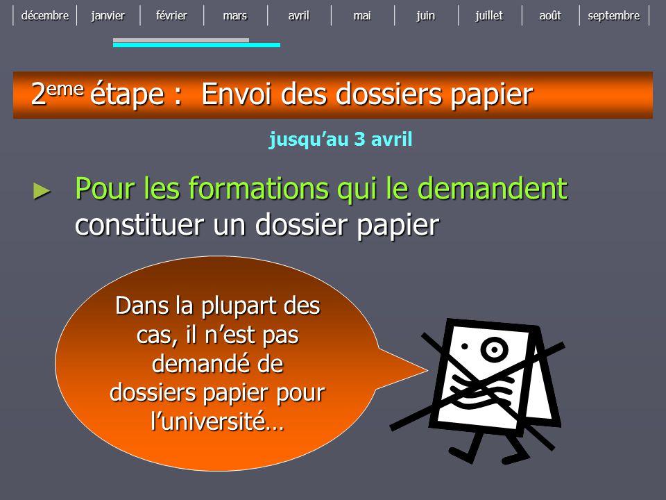 2eme étape : Envoi des dossiers papier