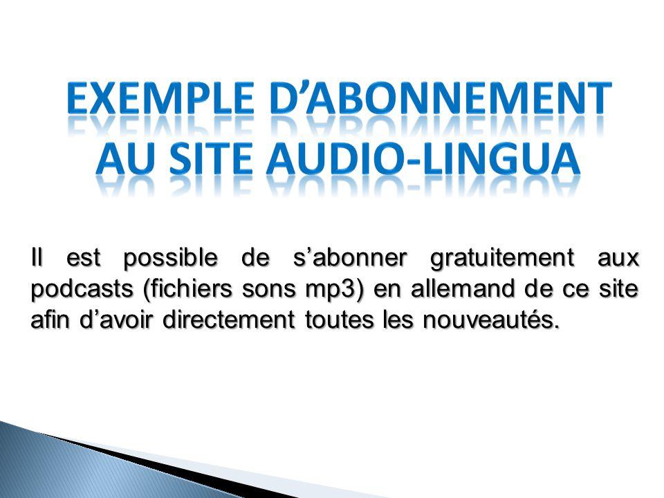 EXEMPLE D'ABONNEMENT AU SITE AUDIO-LINGUA