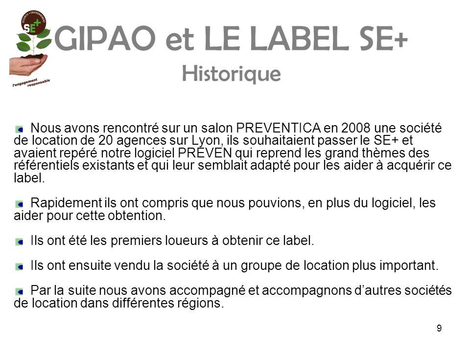 GIPAO et LE LABEL SE+ Historique