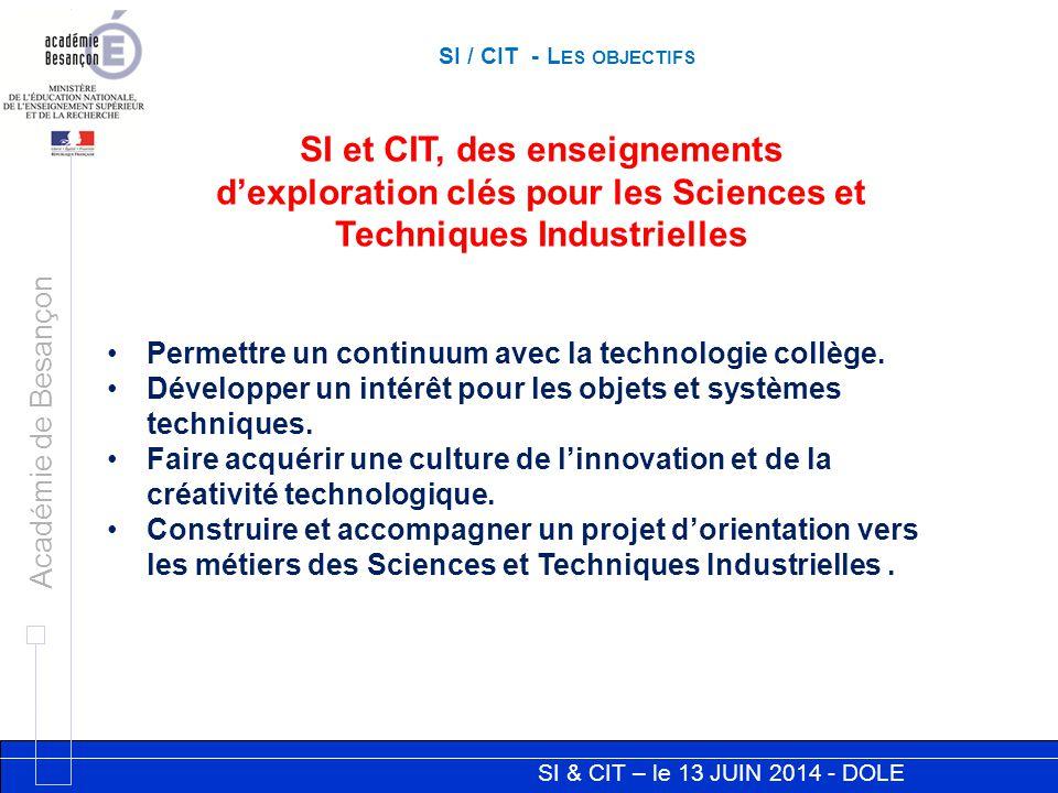 SI / CIT - Les objectifs SI et CIT, des enseignements d'exploration clés pour les Sciences et Techniques Industrielles.