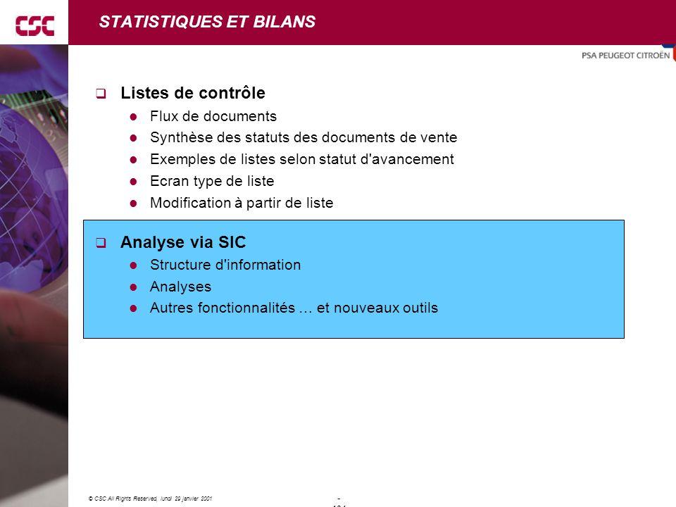 STATISTIQUES ET BILANS
