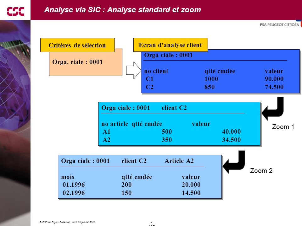Analyse via SIC : Analyse standard et zoom