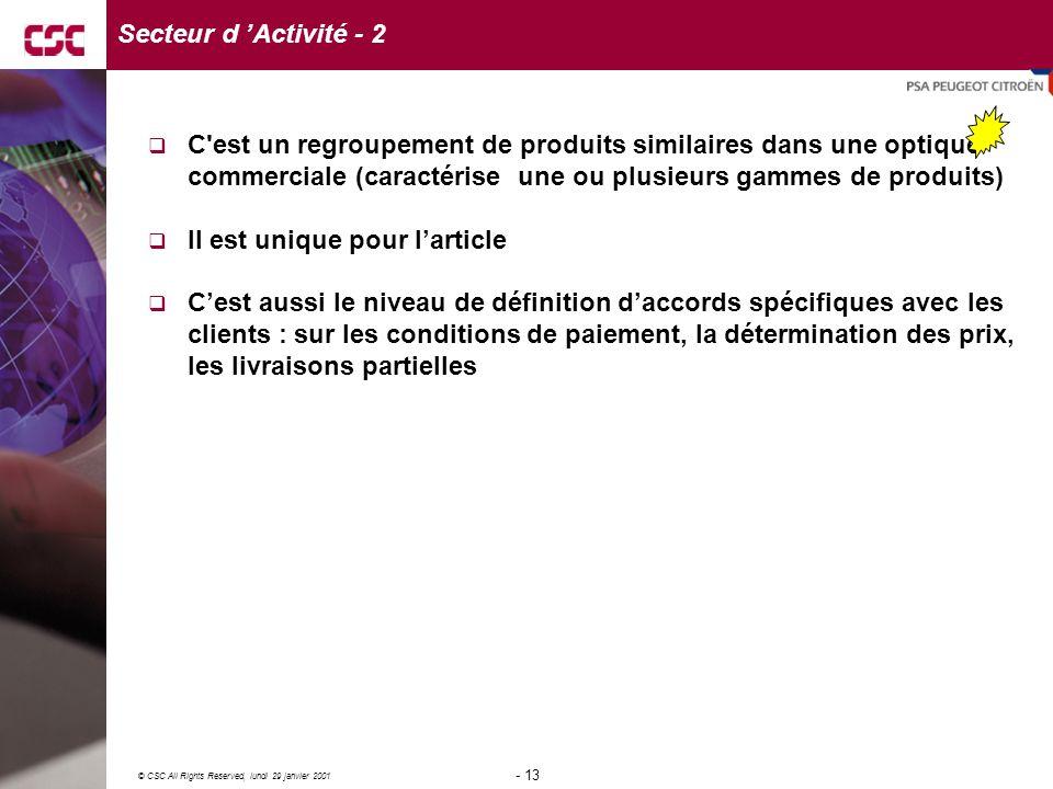 Secteur d 'Activité - 2 C est un regroupement de produits similaires dans une optique commerciale (caractérise une ou plusieurs gammes de produits)