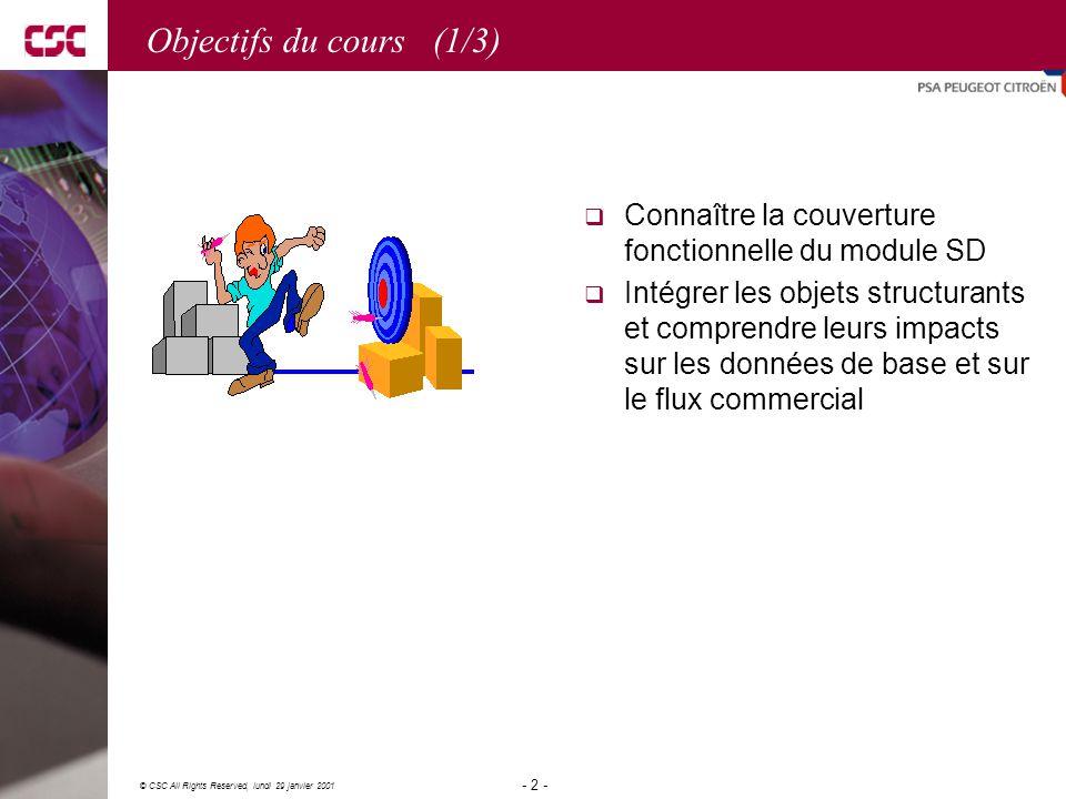 Objectifs du cours (1/3) Connaître la couverture fonctionnelle du module SD.