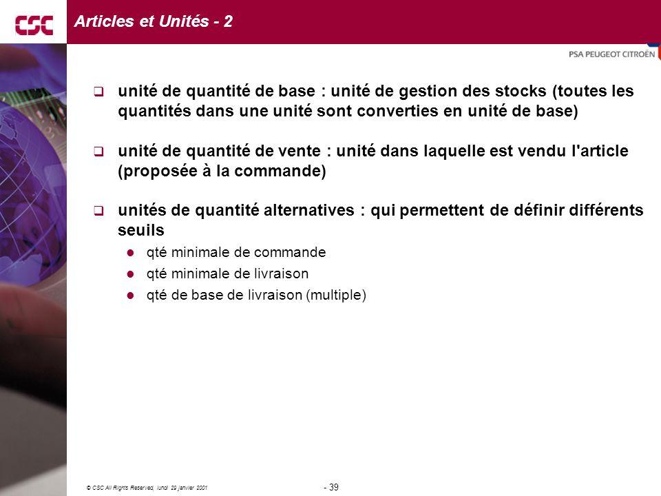 Articles et Unités - 2