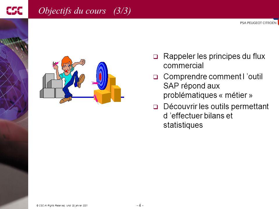 Objectifs du cours (3/3) Rappeler les principes du flux commercial