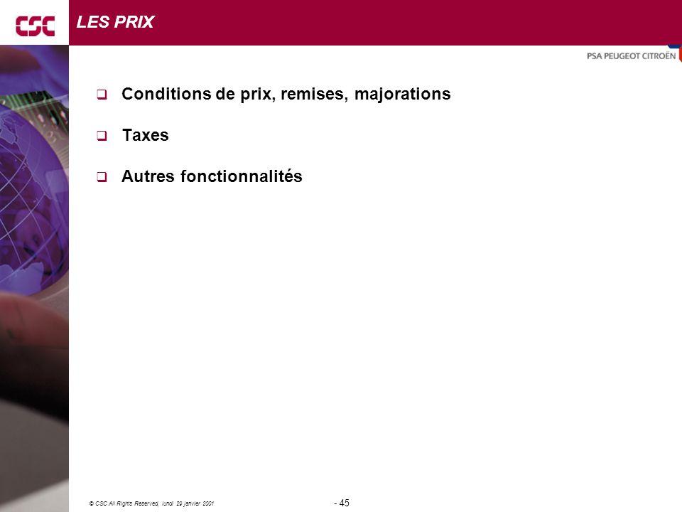 LES PRIX Conditions de prix, remises, majorations Taxes Autres fonctionnalités