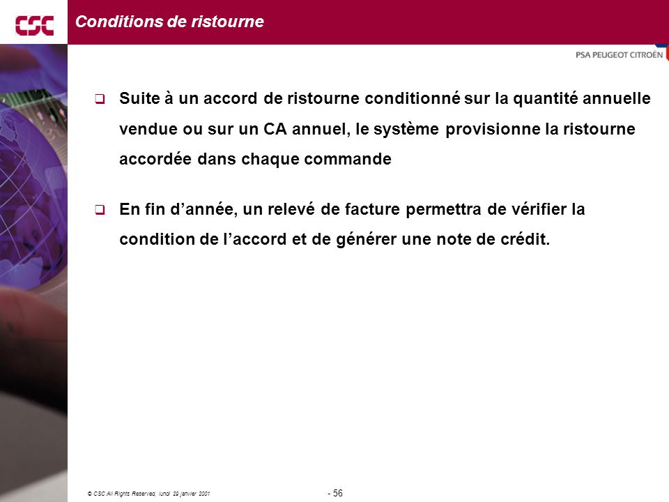 Conditions de ristourne