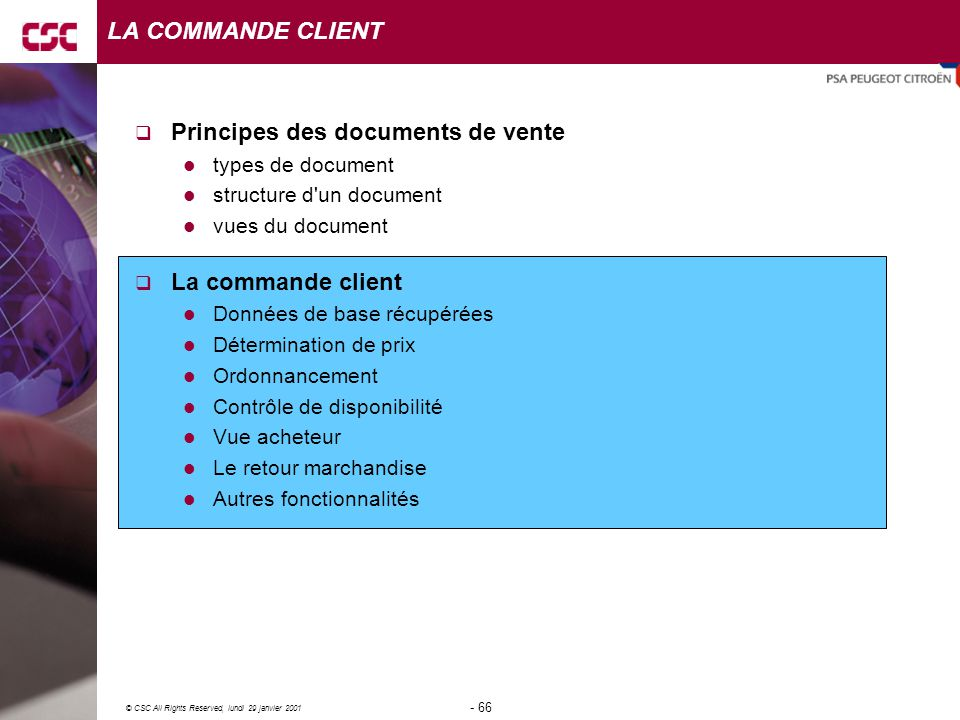 Principes des documents de vente