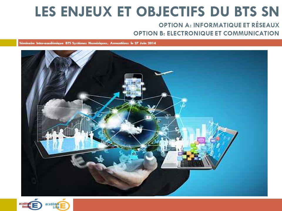 Les enjeux et objectifs du BTS SN Option A: Informatique et Réseaux Option B: Electronique et Communication