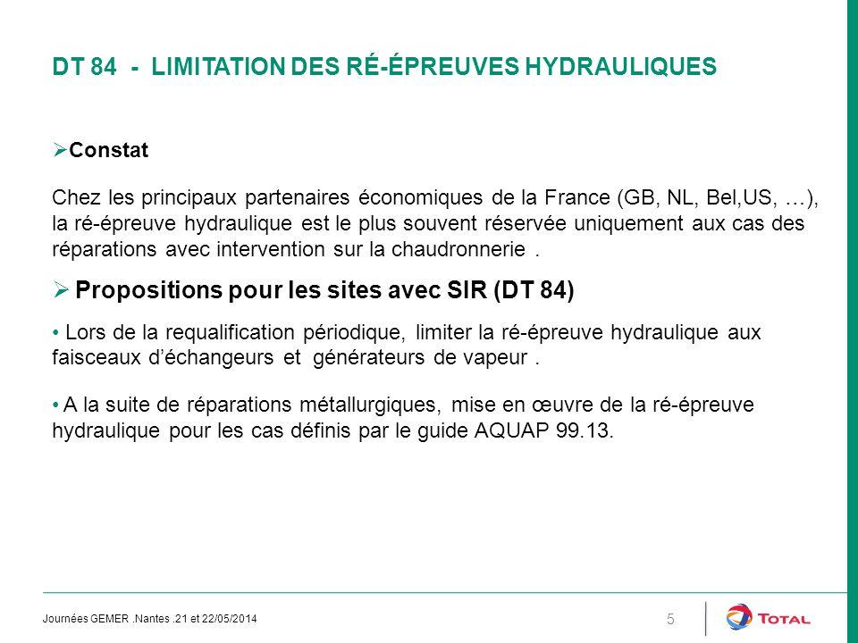 DT 84 - Limitation des ré-épreuves hydrauliques