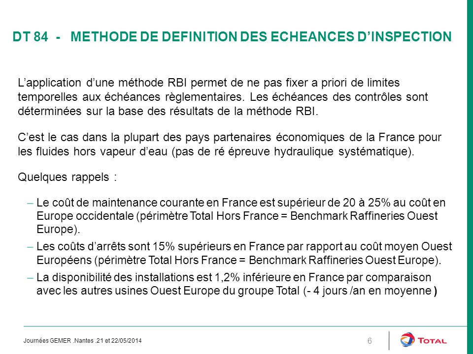 DT 84 - METHODE DE DEFINITION DES ECHEANCES D'INSPECTION