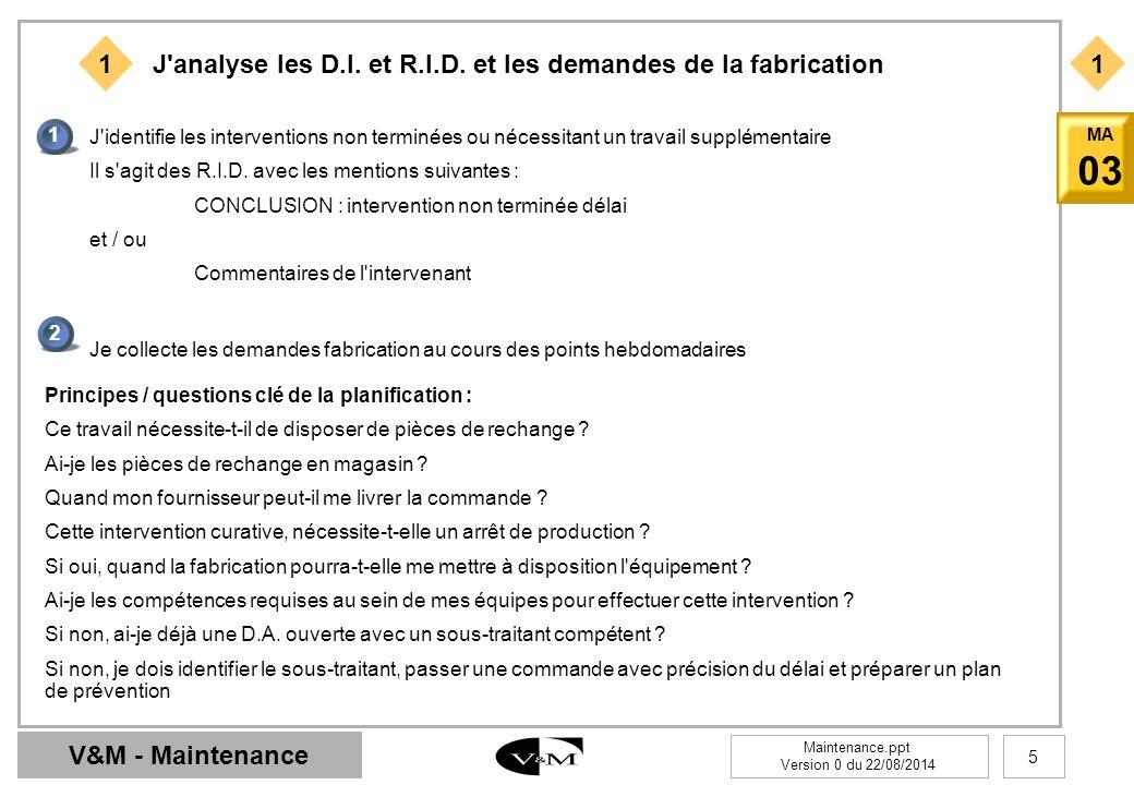 J analyse les D.I. et R.I.D. et les demandes de la fabrication
