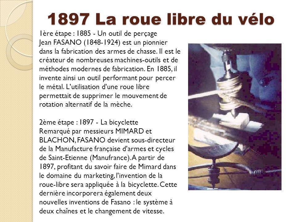 1897 La roue libre du vélo 1ère étape : 1885 - Un outil de perçage