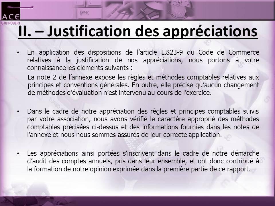 II. – Justification des appréciations