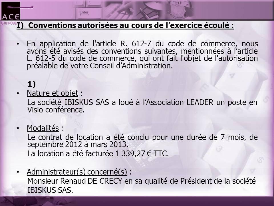 I) Conventions autorisées au cours de l'exercice écoulé :