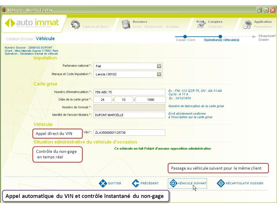 Appel automatique du VIN et contrôle instantané du non-gage
