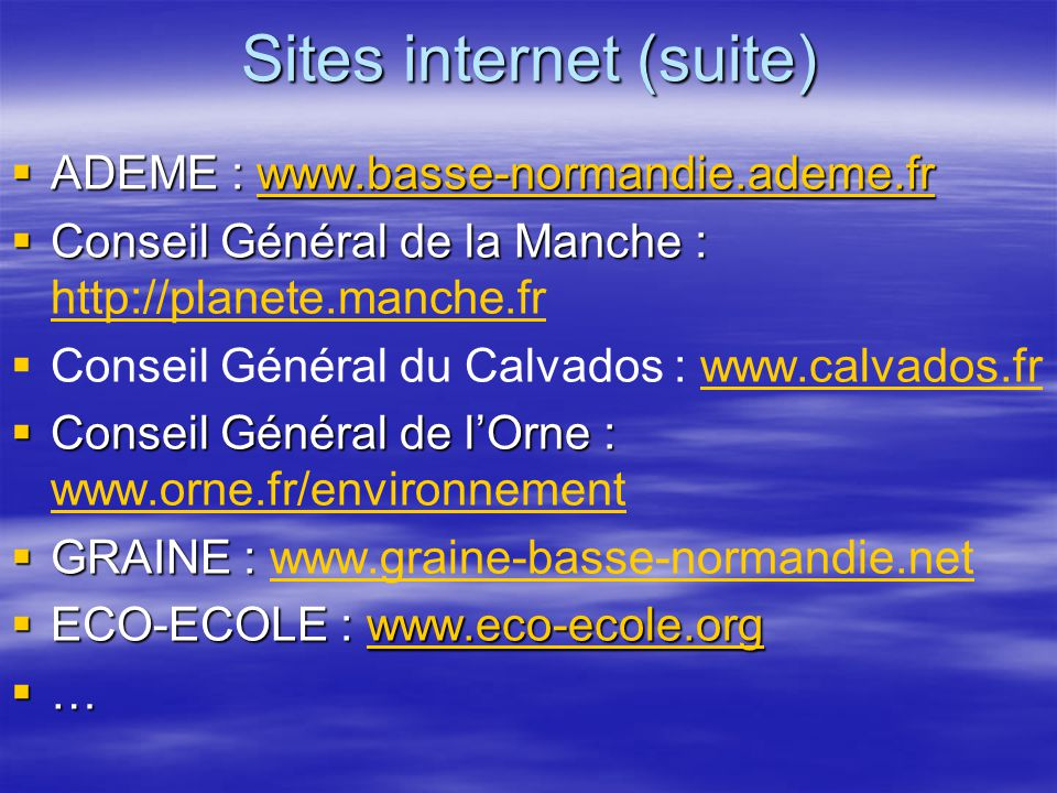 Sites internet (suite)