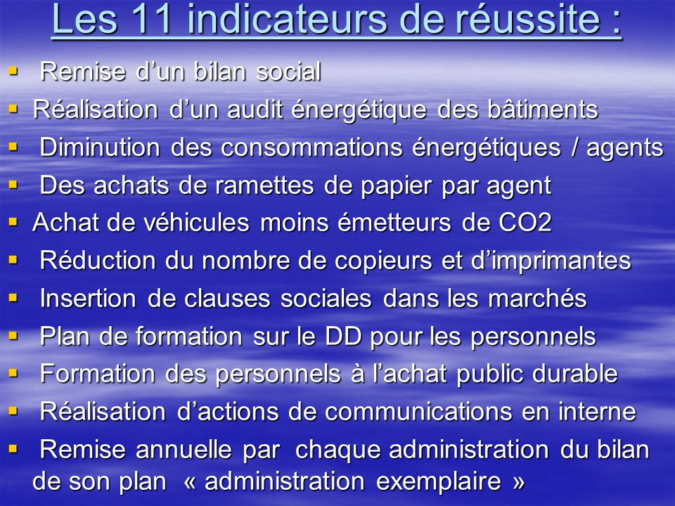 Les 11 indicateurs de réussite :