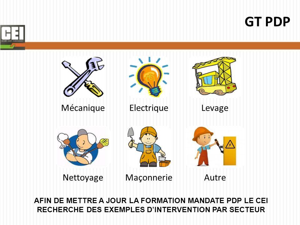 GT PDP Mécanique. Electrique. Levage. Nettoyage. Maçonnerie. Autre.