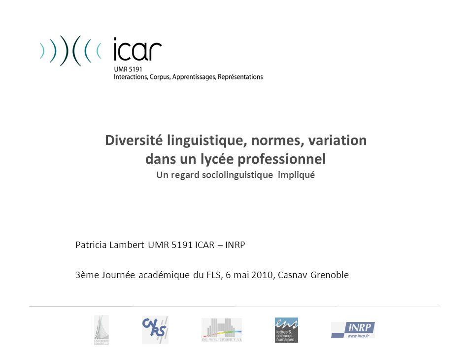 Diversité linguistique, normes, variation dans un lycée professionnel Un regard sociolinguistique impliqué