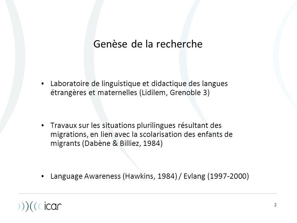 Genèse de la recherche Laboratoire de linguistique et didactique des langues étrangères et maternelles (Lidilem, Grenoble 3)