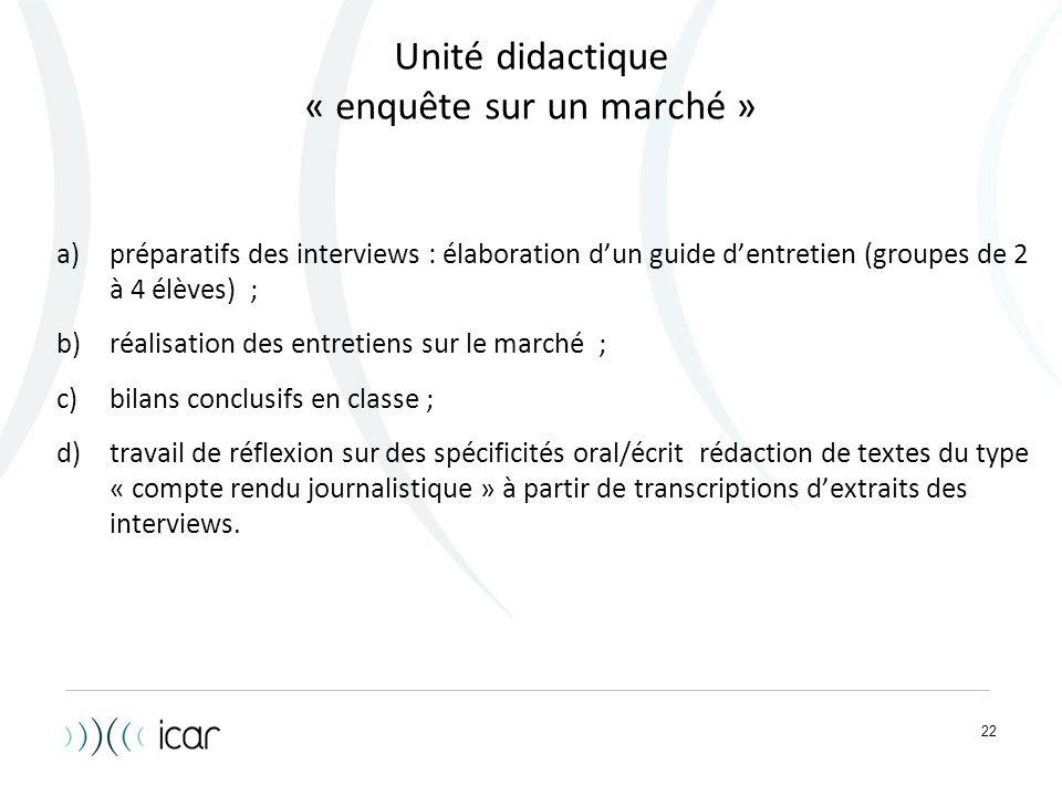 Unité didactique « enquête sur un marché »