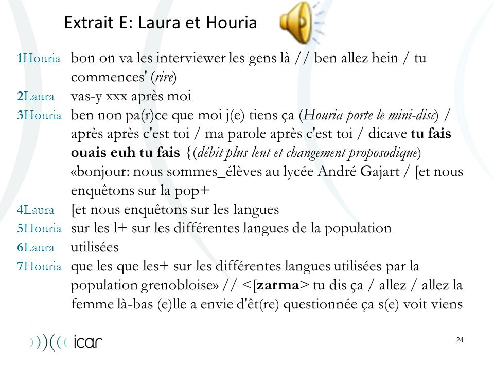Extrait E: Laura et Houria
