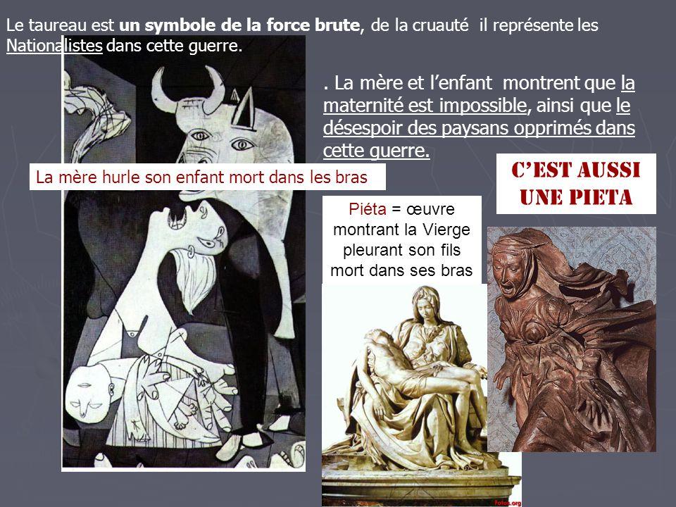 Piéta = œuvre montrant la Vierge pleurant son fils mort dans ses bras