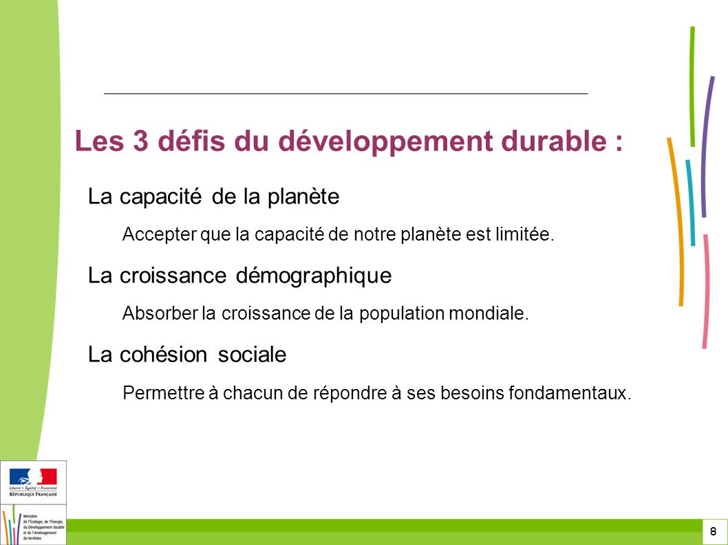 Les 3 défis du développement durable :