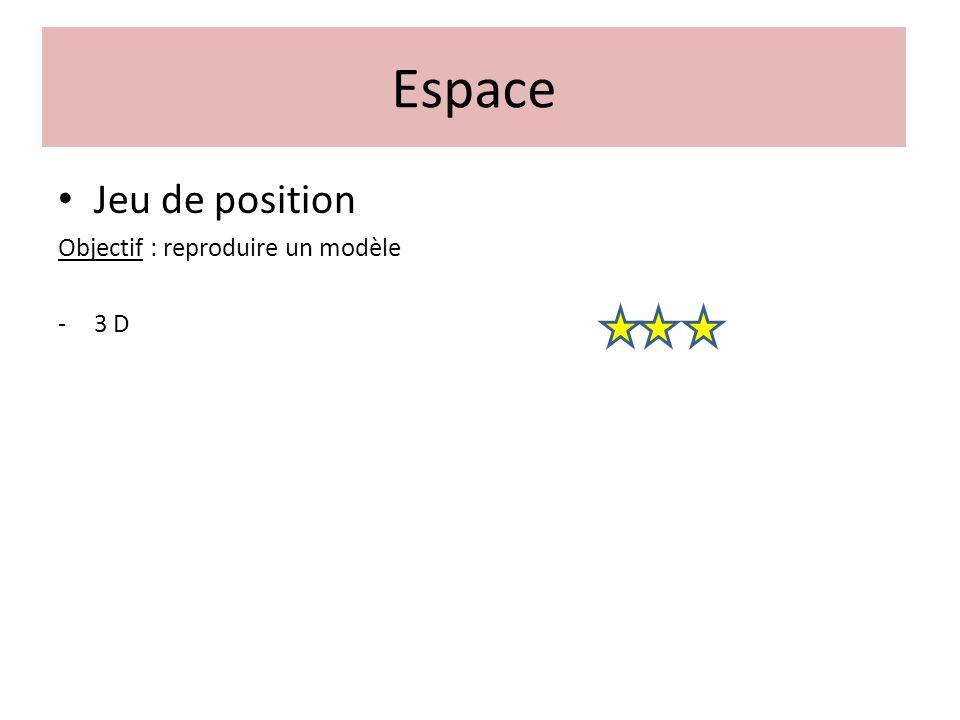 Espace Jeu de position Objectif : reproduire un modèle 3 D