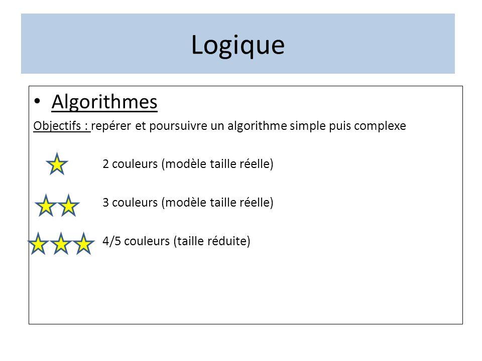 Logique Algorithmes. Objectifs : repérer et poursuivre un algorithme simple puis complexe. 2 couleurs (modèle taille réelle)