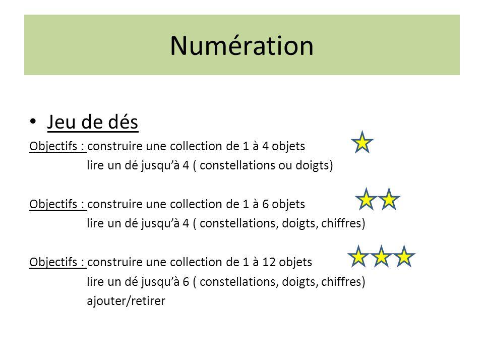 Numération Jeu de dés. Objectifs : construire une collection de 1 à 4 objets. lire un dé jusqu'à 4 ( constellations ou doigts)
