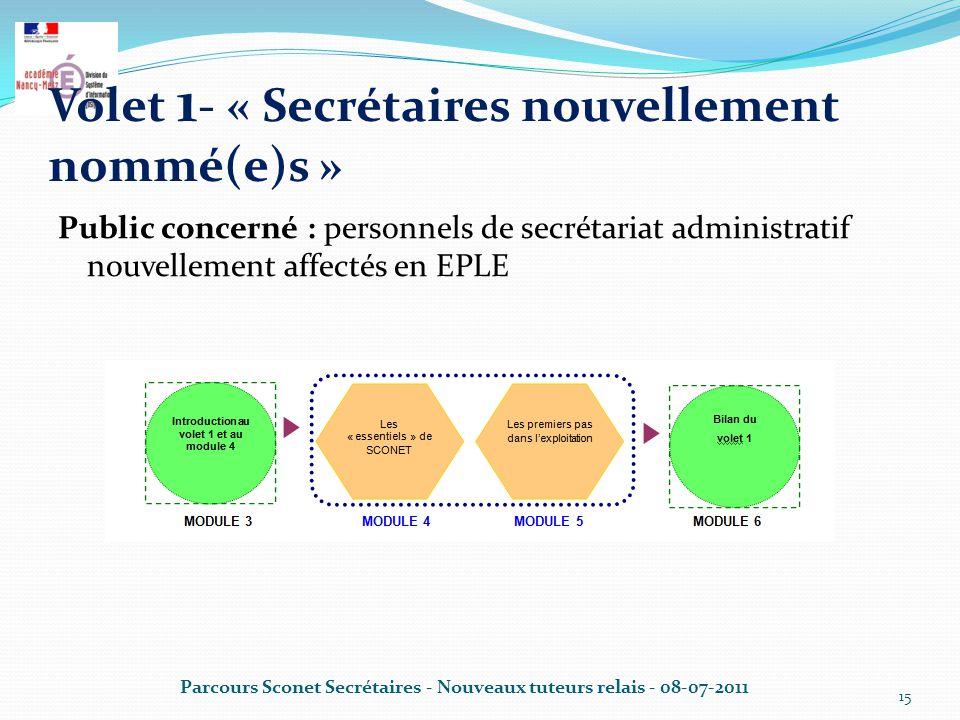 Volet 1- « Secrétaires nouvellement nommé(e)s »