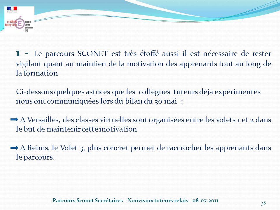 1 - Le parcours SCONET est très étoffé aussi il est nécessaire de rester vigilant quant au maintien de la motivation des apprenants tout au long de la formation