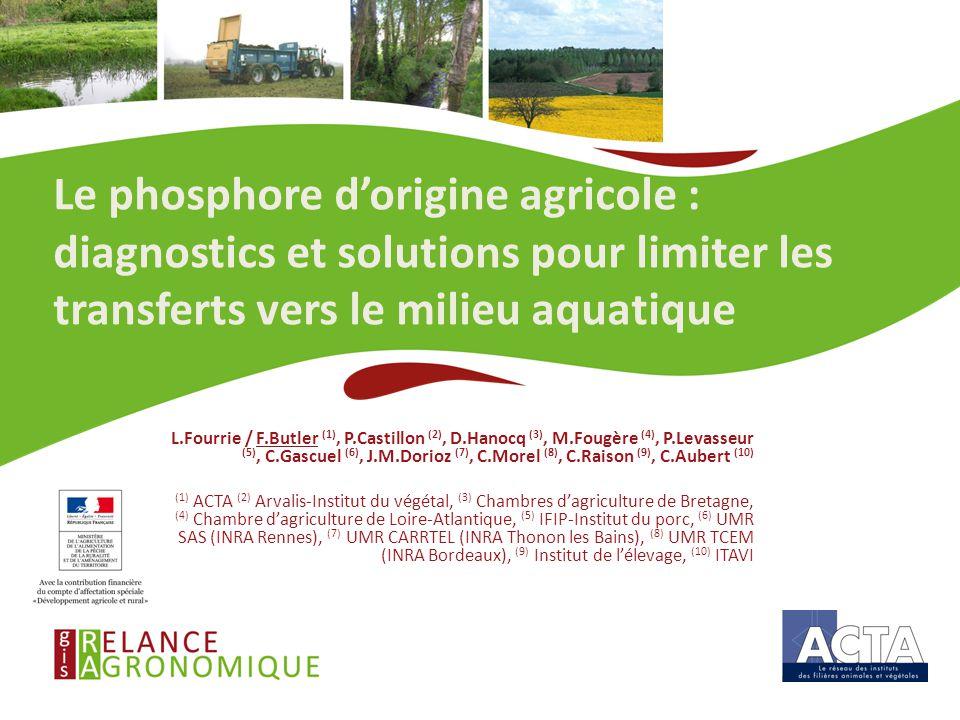 Le phosphore d'origine agricole : diagnostics et solutions pour limiter les transferts vers le milieu aquatique