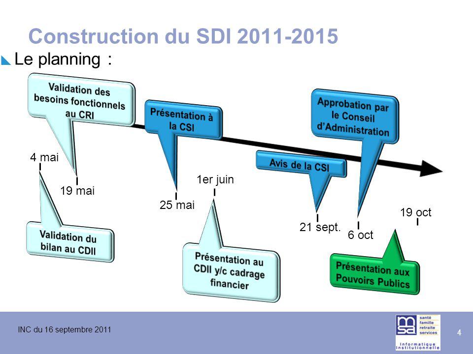 Construction du SDI 2011-2015 Le planning : 4 mai 1er juin 19 mai