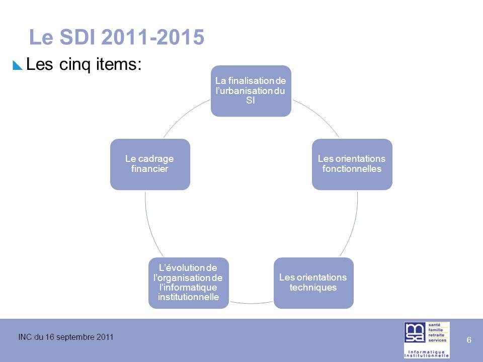 Le SDI 2011-2015 Les cinq items: La finalisation de l'urbanisation du SI. Les orientations fonctionnelles.
