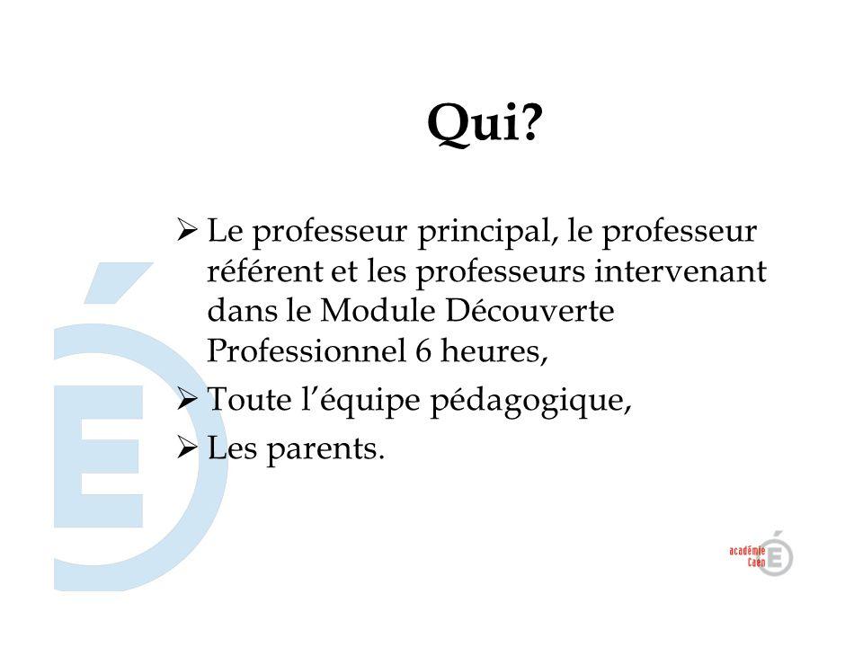 Qui Le professeur principal, le professeur référent et les professeurs intervenant dans le Module Découverte Professionnel 6 heures,