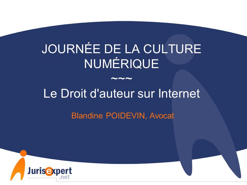 JOURNÉE DE LA CULTURE NUMÉRIQUE ~~~ Le Droit d auteur sur Internet