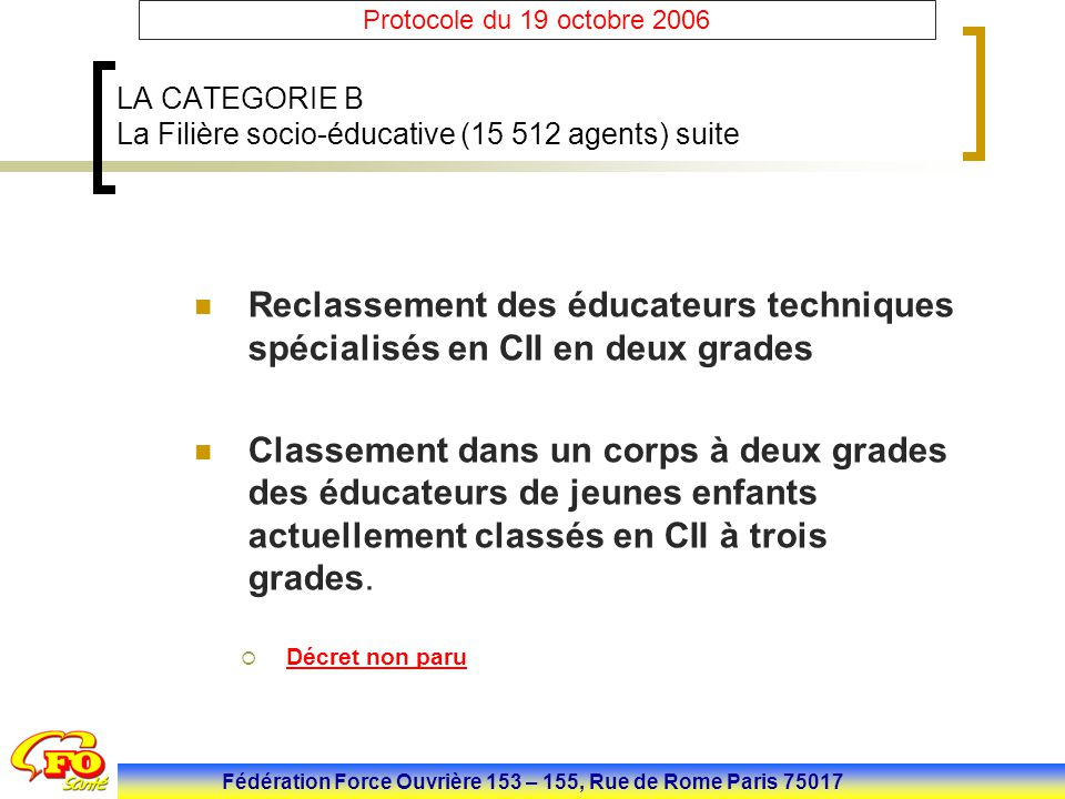 LA CATEGORIE B La Filière socio-éducative (15 512 agents) suite