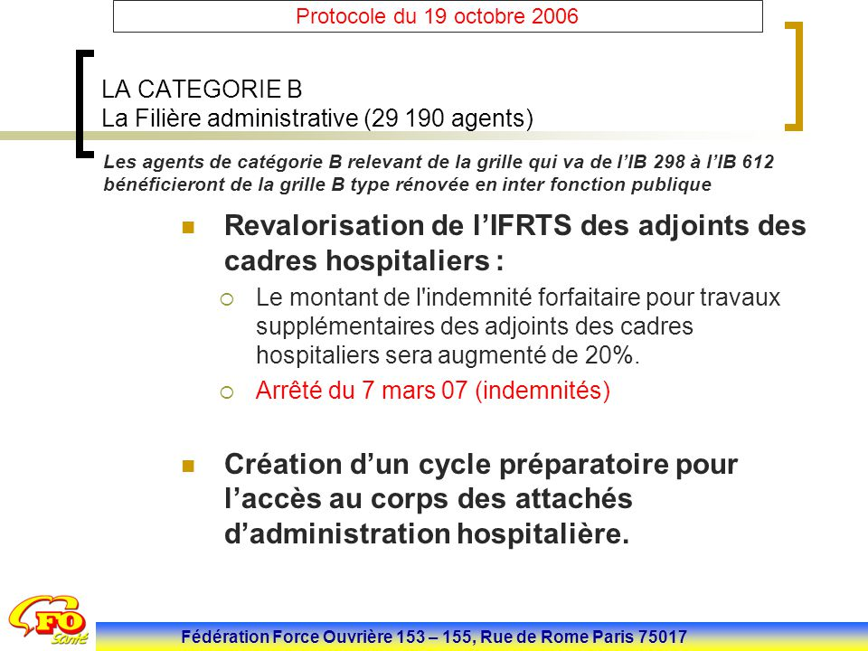 LA CATEGORIE B La Filière administrative (29 190 agents)