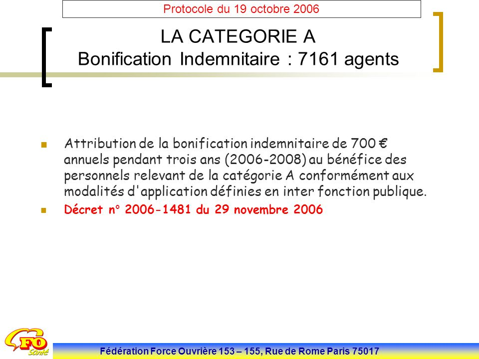 LA CATEGORIE A Bonification Indemnitaire : 7161 agents