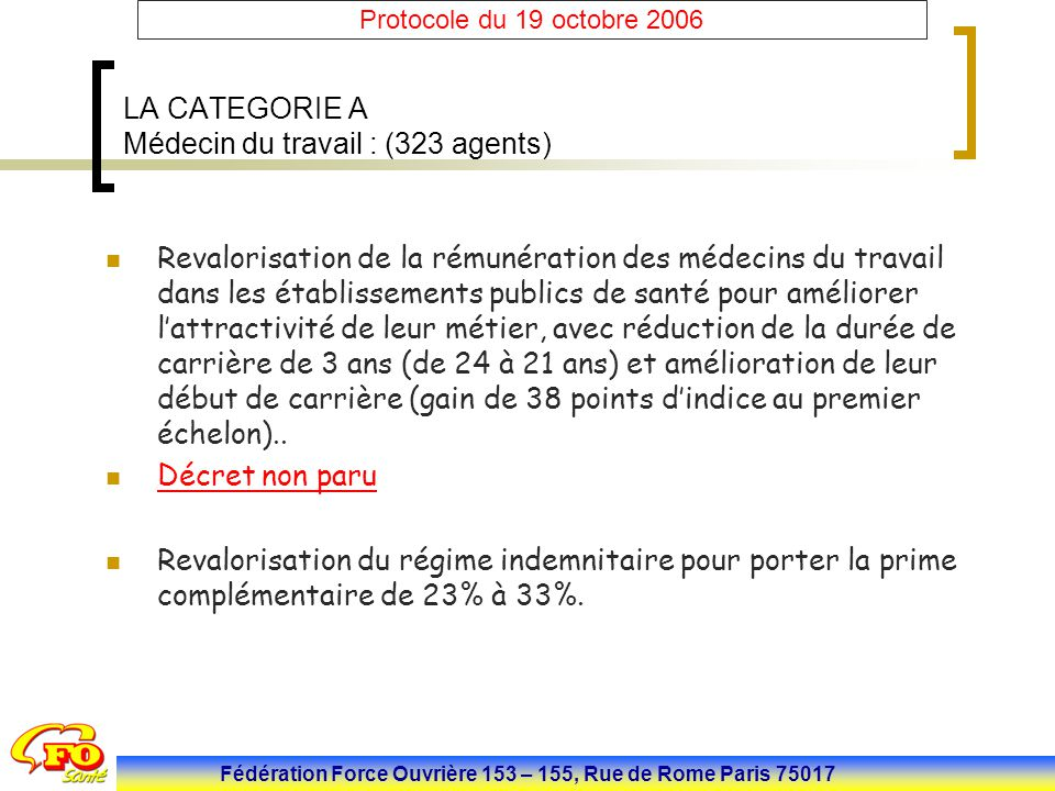 LA CATEGORIE A Médecin du travail : (323 agents)