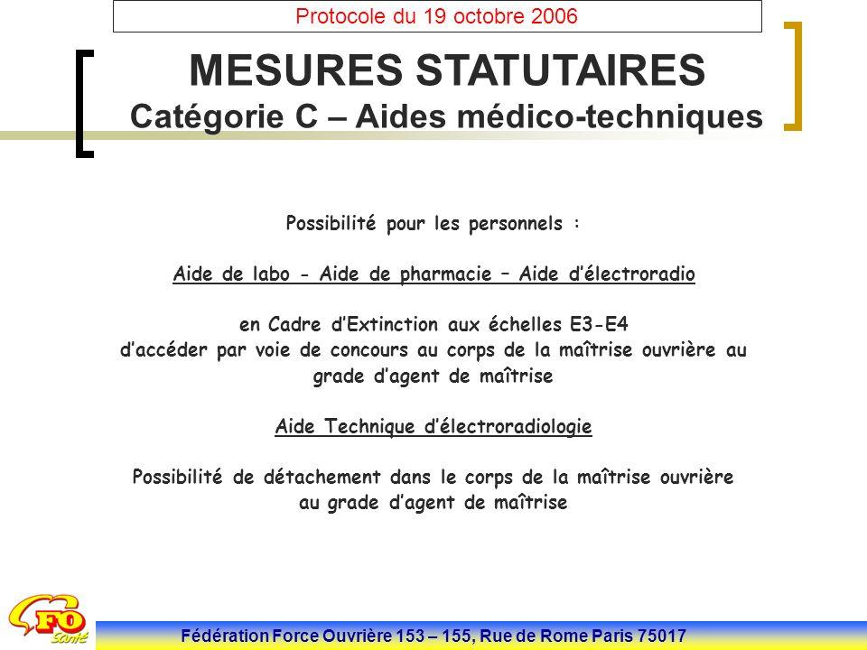 MESURES STATUTAIRES Catégorie C – Aides médico-techniques