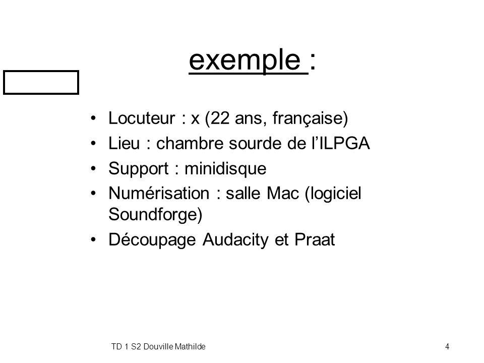 exemple : Locuteur : x (22 ans, française)
