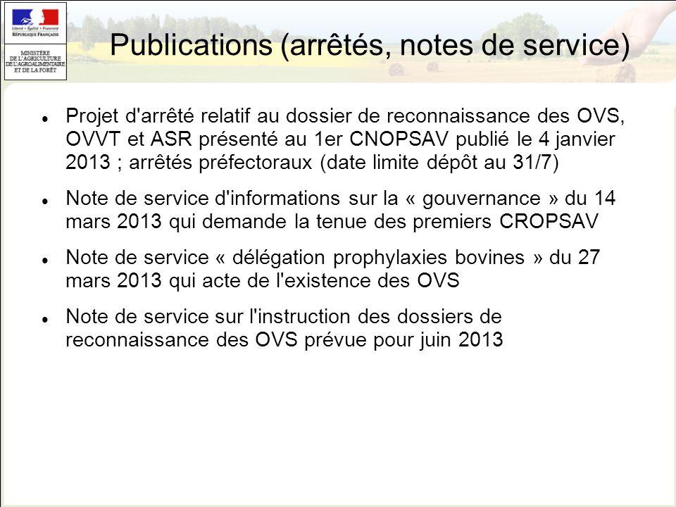 Publications (arrêtés, notes de service)